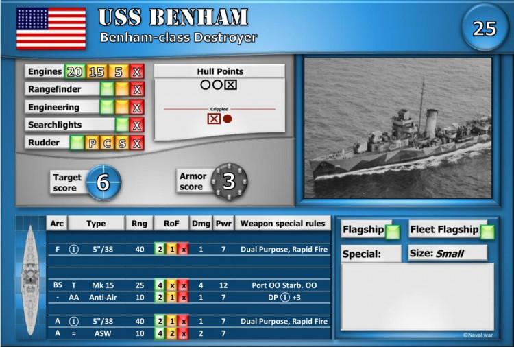 Benham-class Destroyer